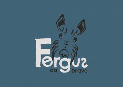 Fergus Da Brave logo on blue background