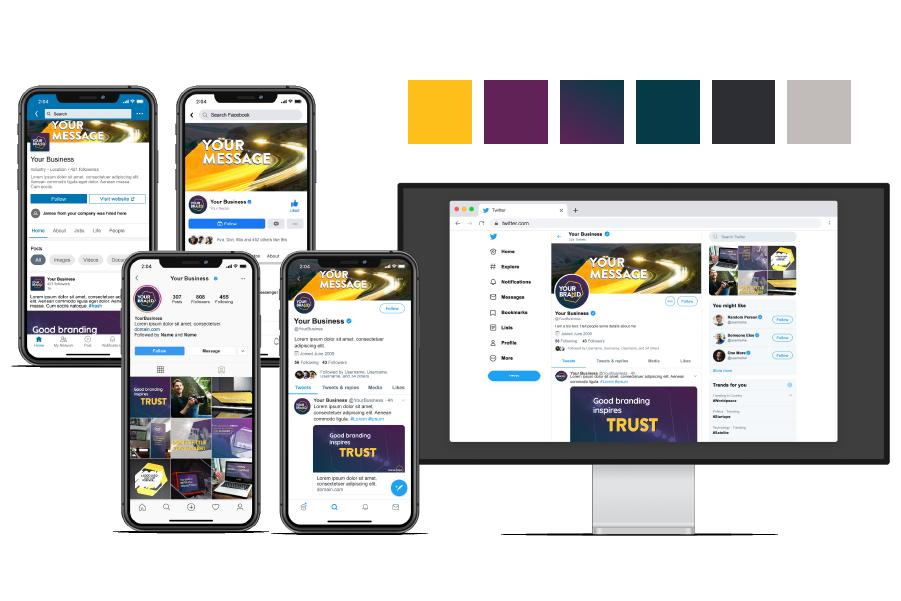 Focus Point branded graphics on social media mock-ups on phone and desktop screens