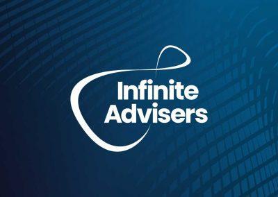 Infinite Advisers logo white on their blue branded background