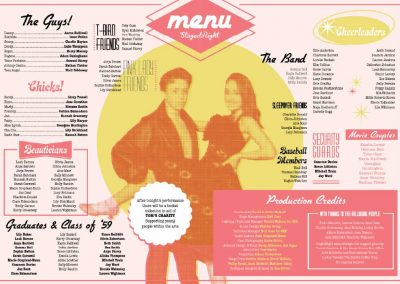 Double page spread from a StagedRight 'Grease' brochure designed to look like a diner menu